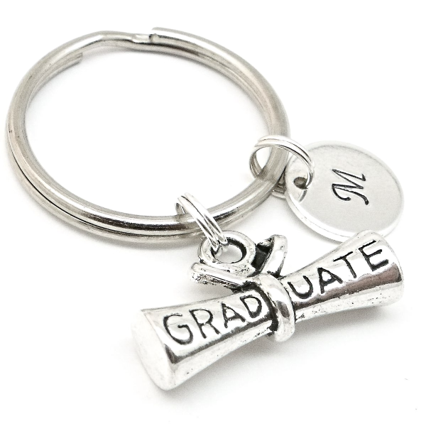 Graduation gift keyring  personalised initial